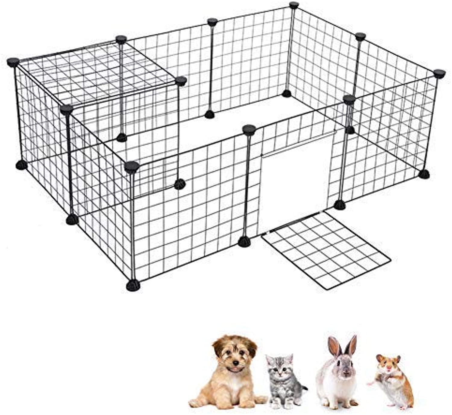 Greensen DIY Dog Kennel, Foldable Pet Playpen Door Cable Tie Metal Wire Animal Grid Cage Guinea Pig Hedgehog Kitten Puppy Hedgehog Hamster Rabbit, Outdoor Indoor, Black(12 Panels)