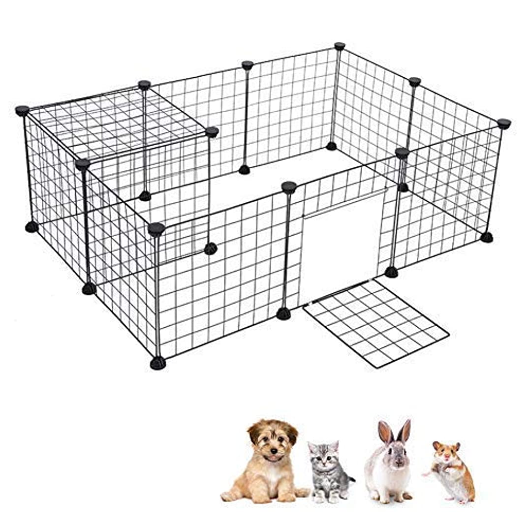 Greensen Pet playpen Foldable DIY Small Animal Exercise Pen Includes Door and Cable Ties Metal Wire Animal Grid Cage for Guinea Pig Dog Cat Rabbit Ferret, Outdoor and Indoor, Black
