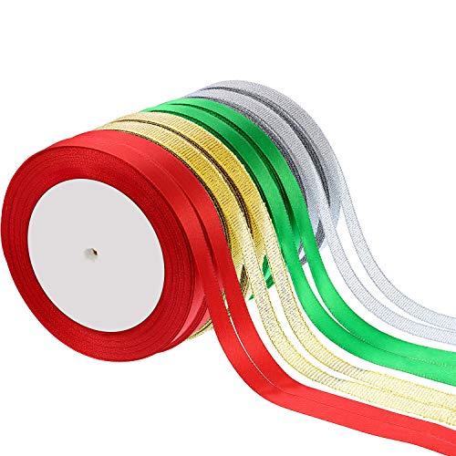 Sumind 8 Rolls 200 Yards Total 10 mm Satin Ribbon Roll Gift Wrapping Ribbon Shimmer Sheer Organza Ribbon Chiffon Gift Ribbons for Christmas DIY Crafts(Color A)
