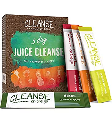 3 Day Juice Cleanse - Just Add Water & Enjoy - 21 Single Serving Powder Packets from Cleanse On The Go