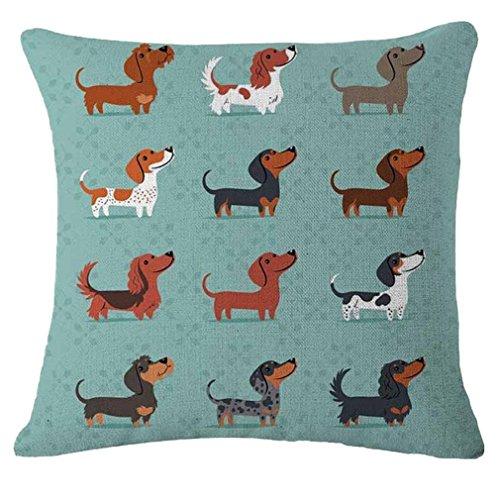 Nunubee Dackel Kissenbezug Süße Hunde Tier Baumwolle Leinen Dekor Kissenbezug Kissenhülle Geschenke, Dackel Hunde 3