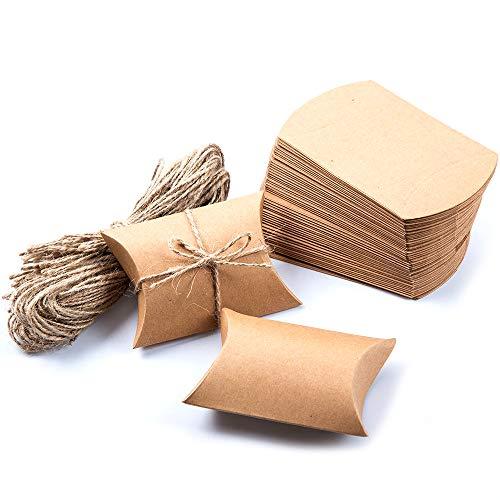 Xinlie Rustieke DIY geschenkdozen kraftpapier bonbondoosje kraftpapier geschenk doos geschenken dozen geschenkverpakking met jute koord voor snoep, sieraden, noten, chocolade (50 stuks)