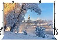 新しい冬の教会の背景250×180cm美しい雪の夕日の家自然風景写真の背景YouTubeフォトスタジオプロップ壁紙DSST362