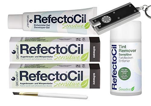 Refectocil Sensitive SET Augenbrauen/Wimpernfarbe 2 x schwarz - Entwickler & Farbfleckenentferner & Gratis Taschenlampe