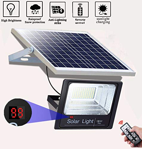 nnn Solarlamp, werkt op zonne-energie, veiligheidslamp, met afstandsbediening, voor tuin, terras, balkon en hortile