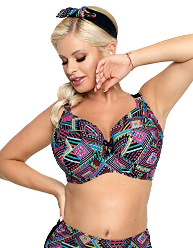 Nessa Women's Fiori Black Multicolour Aztec Padded Underwired Bikini Top 32JJ