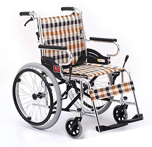 Gcxzb Sillas de ruedas con frenos traseros, ligero y antideslizante, plegable discapacitados de ruedas grandes ruedas manual plegable portátil Ultra silla de transporte ligero de ancianos discapacitad