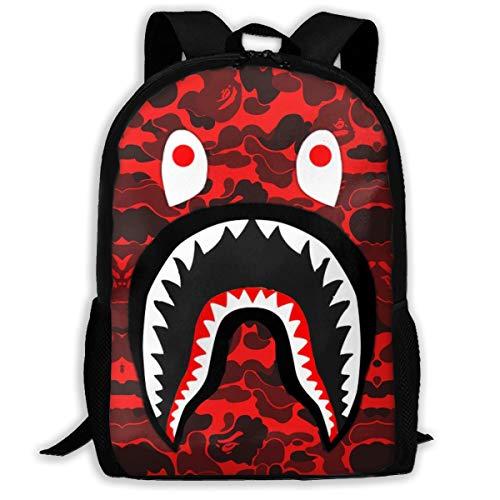 DISINIBITA Bape Blood Shark Backpack Teenagers Student School Bag Children Fashion Book Bag For Boys/Girls Black Red