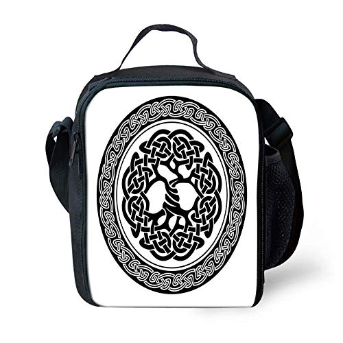 Lunch Bag Tote Boxes Bags Insulated LunchBags Native Celtic Tree of Life Figure Ireland Early Renaissance Artsy Modern Design,Lunch Box for Men/Women Boys/Girls Kids
