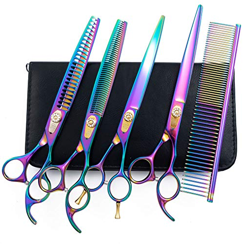 Moontay 8.0' Dog Grooming Shears Set, 4-Pieces Straight, Curved, Thinning, Chunker Grooming Scissors for Dogs, Cats and Pets with Grooming Comb, 440C Japanese Steel, Multicolour