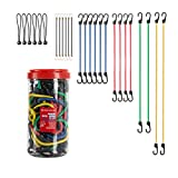 26PCS Bungee Cords Assortment in Jar, Heavy Duty Bungee Cord with Durable Hook, Include 6 x 18 Inches, 4 x 24 Inches, 2 x 32 Inches, 2 x 40 Inches, 6 x Mini Cords & 6 Canopy Ties