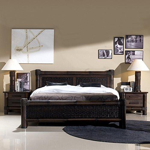 Möbel Bressmer Rattanbett Kolonial Bett Liegefläche 200 x 200 | Koloniabett Doppelbett schwarz dunkel Holzbett Bettgestell Bambusbett mit Lattenroste