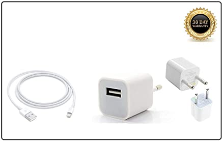 Priefy USB Cable with Fast Charging Adapter Compatible with iPhone 5/ 5S/ SE/ 6/ 6S/ 7/7 Plus/ 8/8 Plus (Charger)