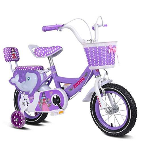 """K-G Bambini Bicicletta Bambino Bike in Formato 12"""" 14"""" 16"""" 18"""" in Acciaio al Carbonio del Bambino della Bicicletta a 3-8 Anni con Ruota di Formazione Doppio Freno (Color : Purple, Size : 12 inch)"""