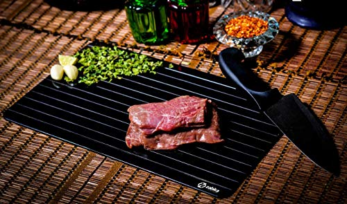 Defrosting Tray (Largest Size) for rapid thaw - Best kitchen thawing tray - Better than heating tray - Safe to defrost meat frozen food pork chops, lamb chops, chicken, fish - No electricity required.