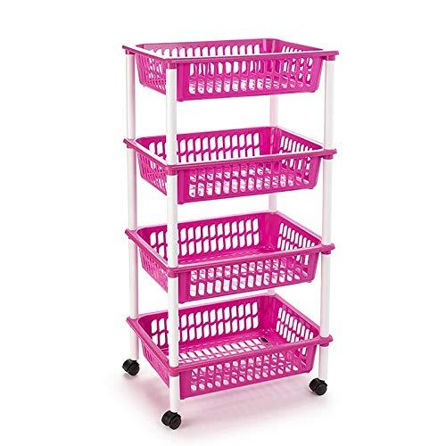 Acan Carrito portaobjeto Multiuso para organizar los Espacio doméstico, Disponible 3 cestas, 4 cestas Elegir Sus Color y Altura Cesta Que te prefiere.(Fucsia-4 Cestas)