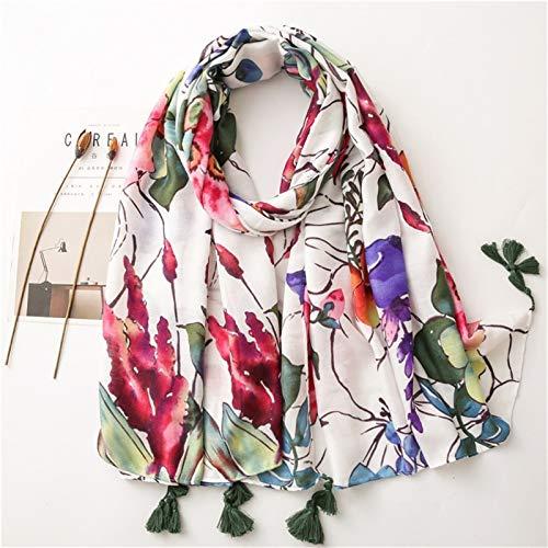 hkwshop Bufandas Chal Bufanda de Moda de Moda Mujer algodón Bufanda Polca Dot Playa Hijab chales y envueltos Hembra Moda Bufandas (Color : F)