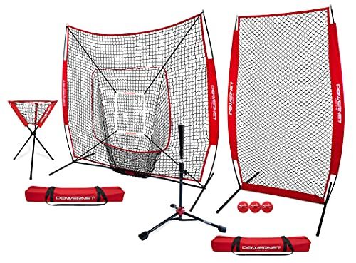 PowerNet [All in ONE Coach Bundle (Red) 7x7 DLX Practice Net + I-Screen + Deluxe Tee + Ball Caddy + 3 Pack Weighted Training Ball + Strike Zone Bundle | Baseball Softball Pitching Batting