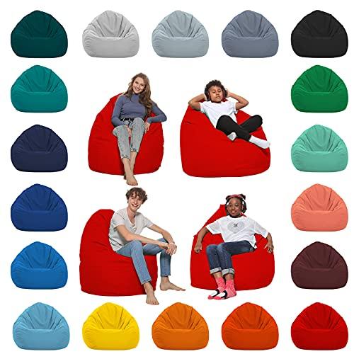 HomeIdeal - Sitzsack XXL Bodenkissen für Erwachsene & Kinder - Geeignet für Gaming oder Entspannen - Indoor wie Outdoor da er Wasserfest ist - mit EPS Perlen, Farbe:Rot, Größe:XL