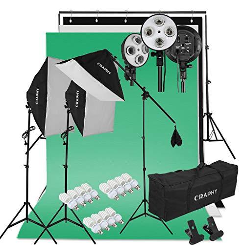 CRAPHY Kit de Iluminación para Fotografía: 3X Ventana de Luz, 3X Fondos de Tela Algodón, 1X Soporte de Fondo, 12X Bombilla 45W, 2X Trípode de Luz, 1X Soporte Jirafa, 2X Bolsa Portátil