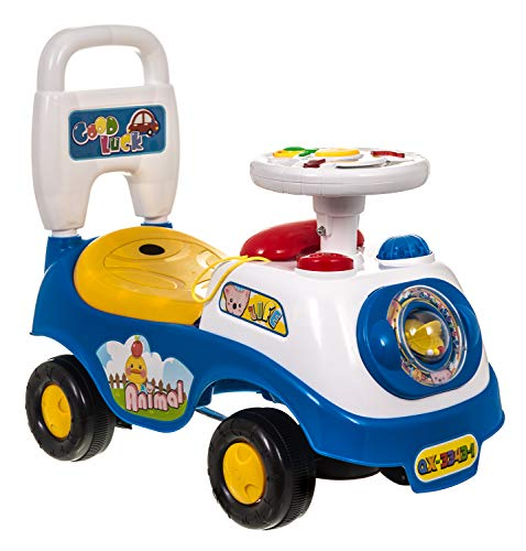 Hillington New My First Ride On and Push Along Buggy Car Colourful First Steps Toddler Walker Learning Toy with Sounds and Accessories (BLUE)