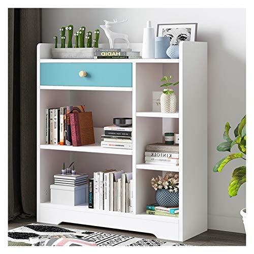 Estante para Libros 3-Tier Estante Estantería con cajón Planta Permanente Estante en la Sala de Estar/el hogar/Oficina, estantes de Almacenamiento en Rack for CDs/Películas/Libros Librero