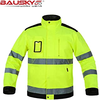 Mens Outdoor High Visibility Reflective Work Jacket Hi-Vis Lime Green Fluorescent Yellow Safety Jacket for Construction (XL, Fluorescent yellow)