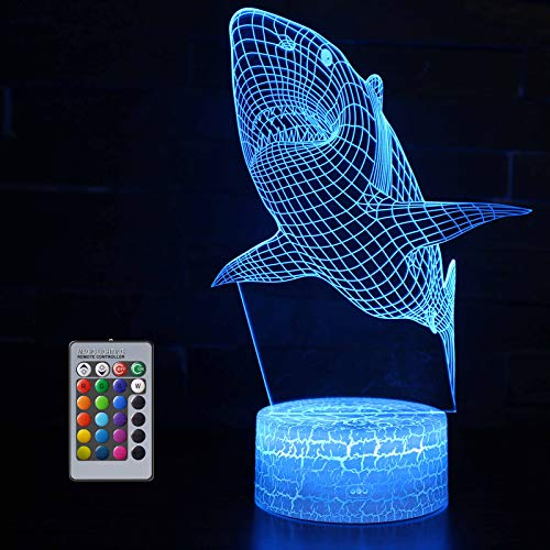 Shark 3D Night Light for Kids, Shark 3D Illusion Beside Table Lamp with 16 Colours Changing and Remote, Shark Gift, Shark Toys for Boys, 7 Year Old Boy Gifts, Boy Gift Age 7 6 5 4 3