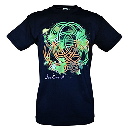 Carrolls Irish Gifts Black Round Neck T-Shirt With Green and Orange Celtic Knot Design, Large