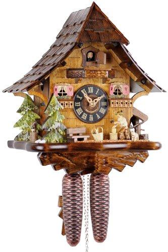 Reloj de cuco original de la Selva Negra, reloj de cuco de madera auténtica, mecanismo mecánico de 8 días, certificado VDS, Eble, 35 cm, 21440