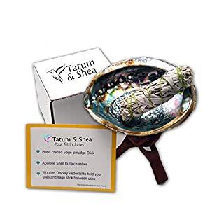 Smudging Kit with Abalone Shell, Wooden Tripod, White Sage Smudge Stick