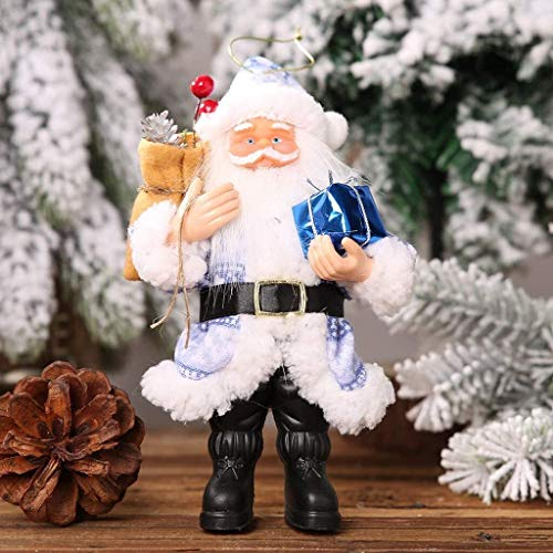 hhkty Christmas Decorations, Christmas giftss Resin Santa Claus Standing Posture Ornaments Doll Pendant Xmas Hanging Ornaments for Women,Men,Kids (Color : Blue)