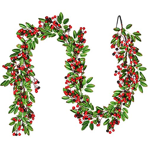 Artiflr 6 FT Red Berry Christmas Garland with Green Leaves Garland Artificail Berry Garland Indoor Outdoor Garden Gate Hone Decoration Lights for Winter Holiday New Year Decor