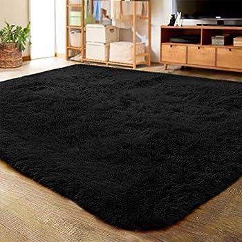 LOCHAS Ultra Soft Indoor Modern Area Rugs Fluffy Living Room Carpets for Children Bedroom Home Decor Nursery Rug 4x5.3 Feet Black