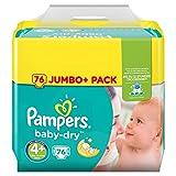 Pampers Baby-Dry - Confezione di 76pannolini taglia 4+ per bambino di 9–18kg