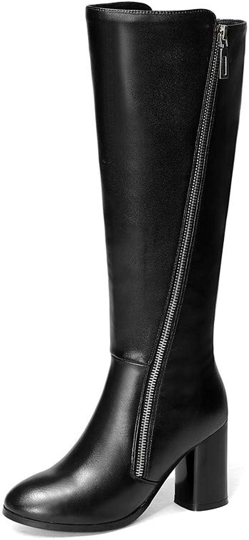 Nine Seven Women's Genuine Leather Round Toe Chunky Heel Handmade Side Zip Comfortable Knee High Boots