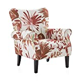 BELLEZE Modern Accent Chair Roll Arm Living Room Cushion Fabric w/Wooden Leg, Red Floral