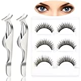 Pixnor 3 Pairs Black Long Makeup False Eyelashes and 2pcs False Eyelashes Extension Applicator Remover Clip Tweezers Nipper Set