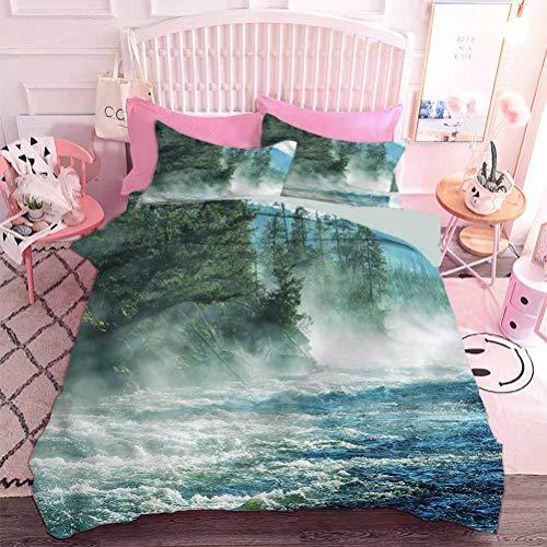 Hiiiman Juego de ropa de cama de 3 piezas con 2 fundas de almohada