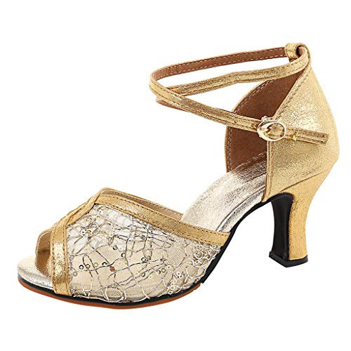 Damen Latin Tanzschuhe High Heel Peep Toe Riemchensandale Sommer Outdoor Sandals(Gold/Gold,38)