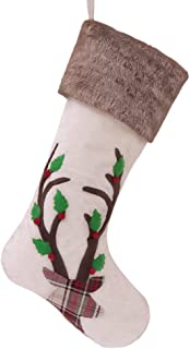 Valery Madelyn 21 inch Woodland Christmas Stockings with Reindeer and Faux Fur Cuff Trim, Themed with Tree Skirt (Not Included)