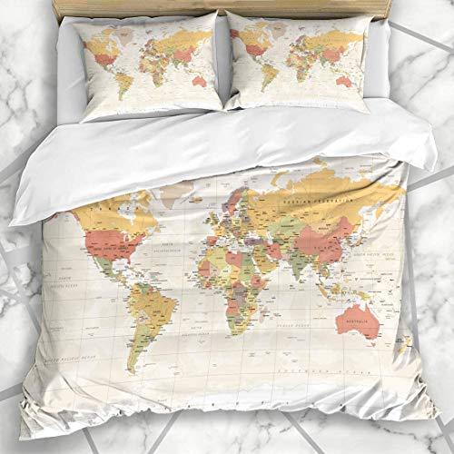 1203 Bettwäschesets Kontinente Braun Asien Vintage Weltkarte Detaillierte Ausstattung Grün Afrika Gitter Europa Land Retro Mikrofaser Bettwä