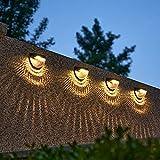 Ylight LED Solar Wandlampe, Wasserdichtes Solardecklicht Im Freien, Gartenzaunbeleuchtung Dekorlicht, Für Zaun, Garten, Gehweg, Innenhof, 4 Pack