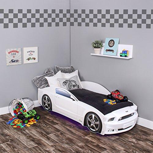 KAGU Autobett Kinderbett Jungendbett Juniorbett im Design eines echten Autos auch mit LED-Beleuchtung erhältlich. Praktisches und bequemes Bett für Ihr Kind, Farbe:Mustang White LED
