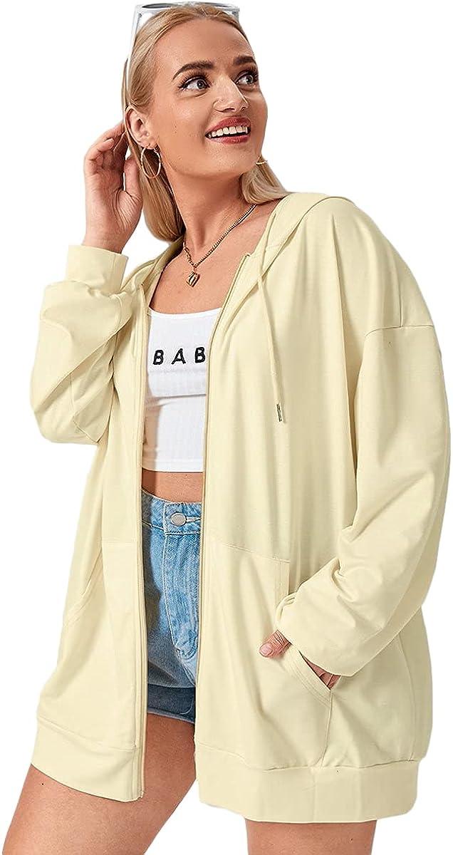 SheIn Women's Plus Size Long Sleeve Hoodie Full Zip Pullover Sweatshirt Top with Pocket