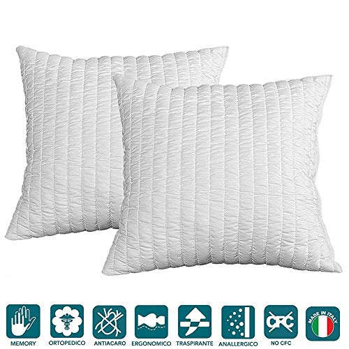 EVERGREENWEB - 2 pack Bed Memory Foam Pillows size 50x50 cm, Shredded Memory Flake Foam, Soft padding effect Feather, Hypoallergenic White Cover, Pair of Orthopaedic Pillow for Cervical Neck Pain
