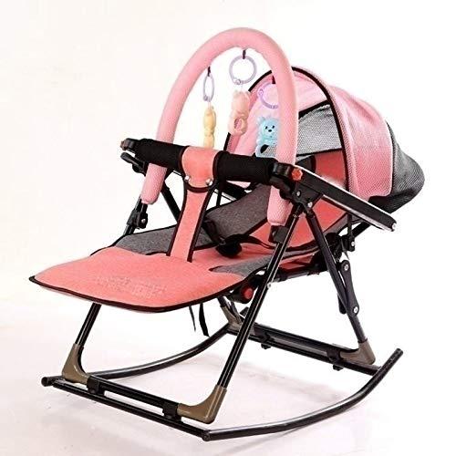KUKU Swing de bebé, Silla Mecedora de bebé Multifuncional, Columpio portátil, diseño Plegable, Ajuste de 4 ángulos, Adecuado para bebés, niños (Azul/Rosa),Rosado
