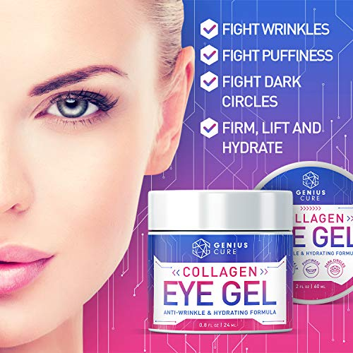 51mTVOtQyvL - Collagen Eye Gel, Under Eye Gel Treatment for Reducing Dark Circles, Moisturizing, Targets Wrinkles Anti-Aging, Fine Lines, Eye Bags, Puffiness for Women Men 2oz