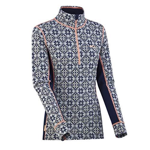 Kari Traa Women's Rose Base Layer Top - Half Zip 100% Merino Wool Thermal Shirt Calm Medium