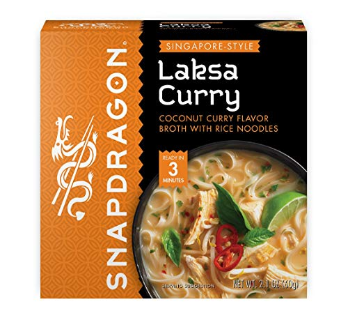 Singapore Style Laksa Curry Instant Noodle Bowls by SnapDragon | Coconut Curry Flavor with Rice Noodles | Gluten Free | No MSG Added | 2.1 oz (6 Pack)